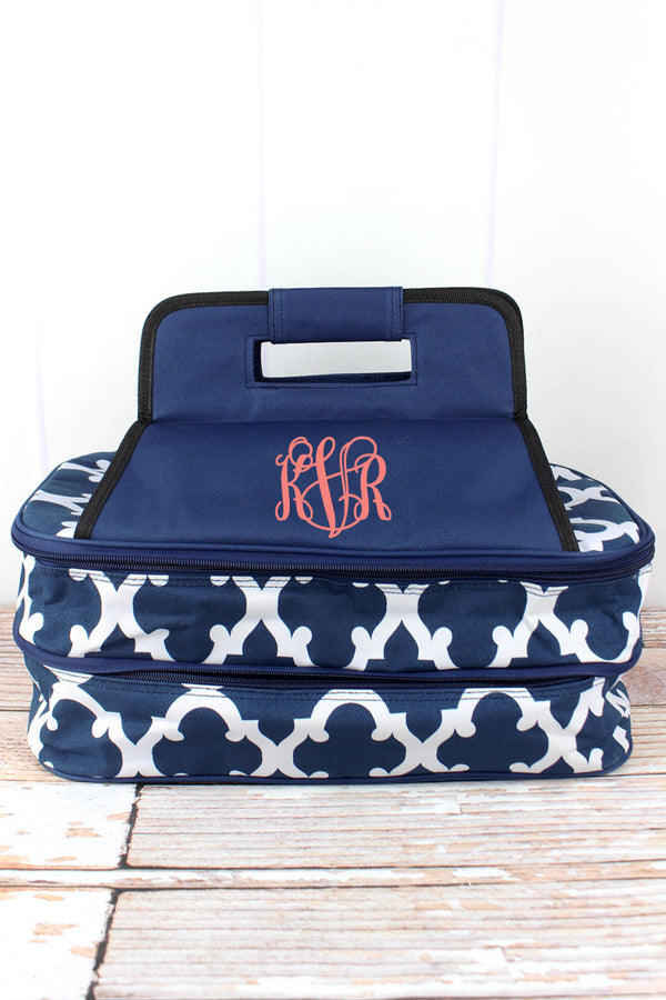 Navy Moroccan Geometric Insulated Double Casserole Tote