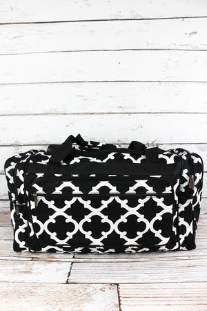Black Moroccan Geometric Duffle Bag 23""