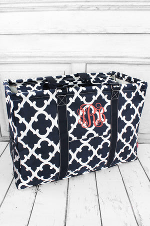 Navy Moroccan Geometric Collapsible Double Haul-It-All Basket with Mesh Pockets and Lid