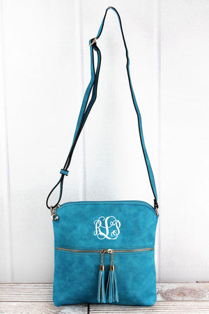 Turquoise Faux Leather Tassel Crossbody Bag