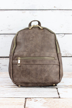 Taupe Gray Faux Leather Small Backpack
