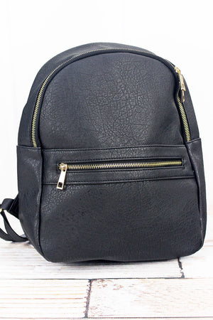 Black Faux Leather Fashion Backpack