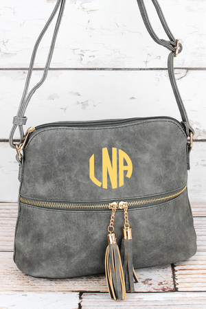 Gray Faux Leather Crossbody Tassel Tote