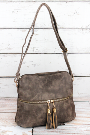 Taupe Gray Faux Leather Crossbody Tassel Tote