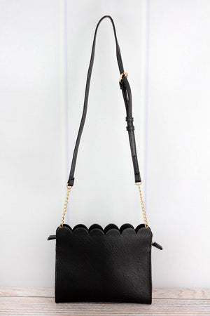 Black Faux Leather Scalloped Crossbody Clutch
