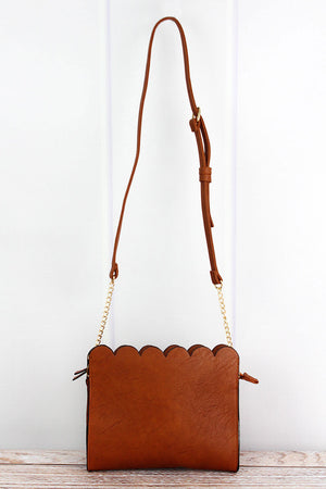 Light Brown Faux Leather Scalloped Crossbody Clutch