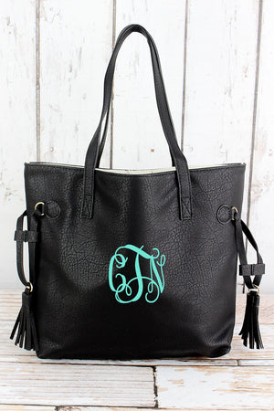 Black Faux Leather Side Tassel Tote