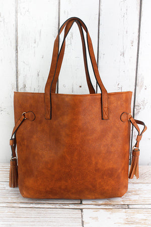 Light Brown Faux Leather Side Tassel Tote
