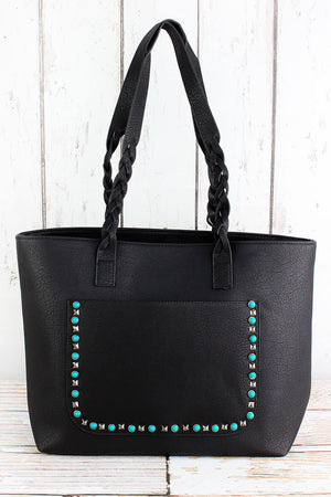 Turquoise Studded Front Pocket Black Faux Leather Bag