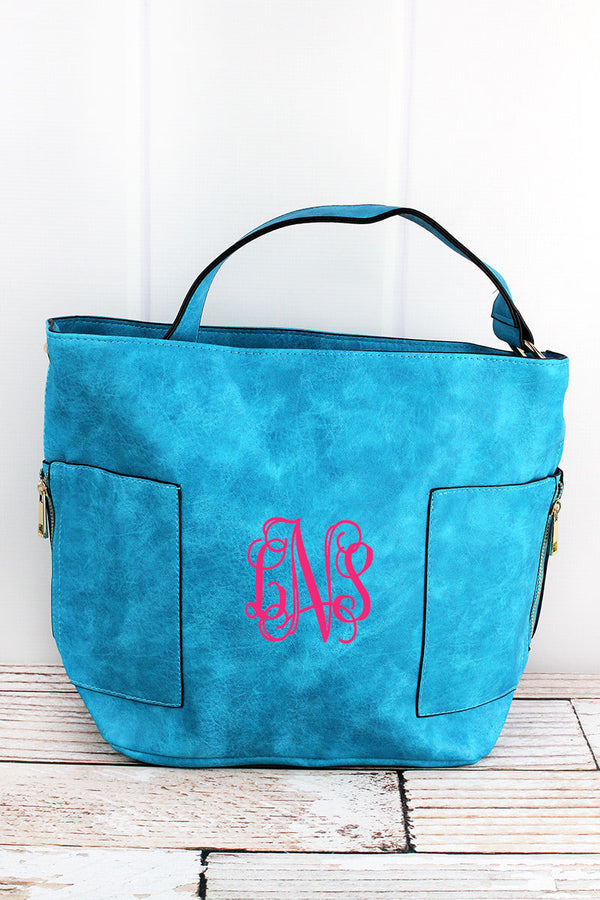 Turquoise Faux Leather Pocket Tote