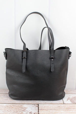 Black Faux Leather Buckle Strap Tote Bag