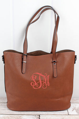 Brown Faux Leather Buckle Strap Tote Bag