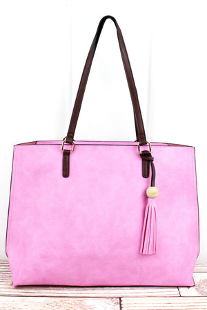 Pink Faux Leather Wood Bead Tassel Tote Bag