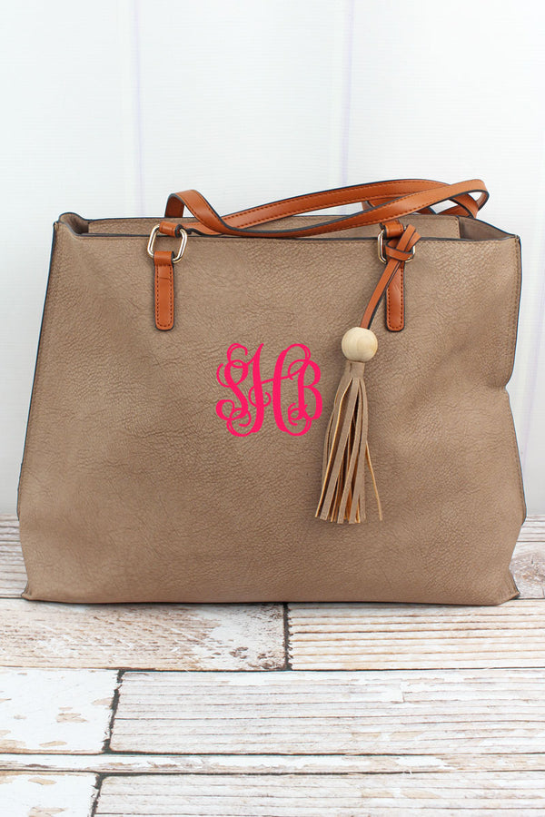 Taupe Gray Faux Leather Wood Bead Tassel Tote Bag