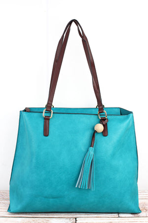 Turquoise Faux Leather Wood Bead Tassel Tote Bag
