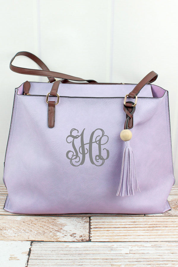 Violet Faux Leather Wood Bead Tassel Tote Bag