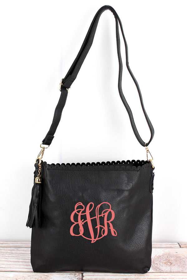 Black Faux Leather Scalloped Top Tassel Crossbody Tote