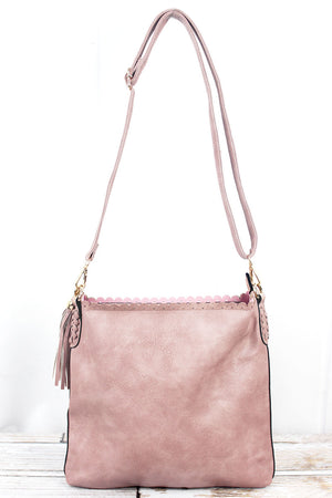 Baby Pink Faux Leather Scalloped Top Tassel Crossbody Tote