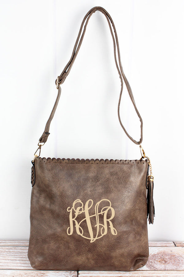 Chocolate Faux Leather Scalloped Top Tassel Crossbody Tote
