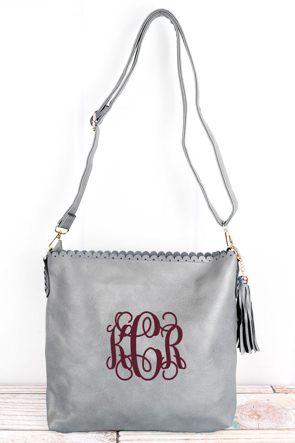 Gray Faux Leather Scalloped Top Tassel Crossbody Tote