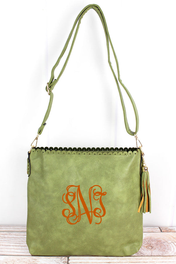 Olive Faux Leather Scalloped Top Tassel Crossbody Tote