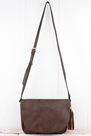 Brown Faux Leather Tassel Envelope Crossbody