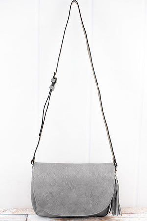 Gray Faux Leather Tassel Envelope Crossbody