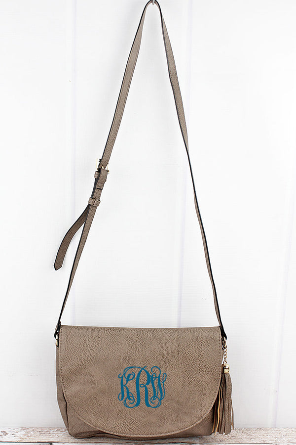 Taupe Gray Faux Leather Tassel Envelope Crossbody