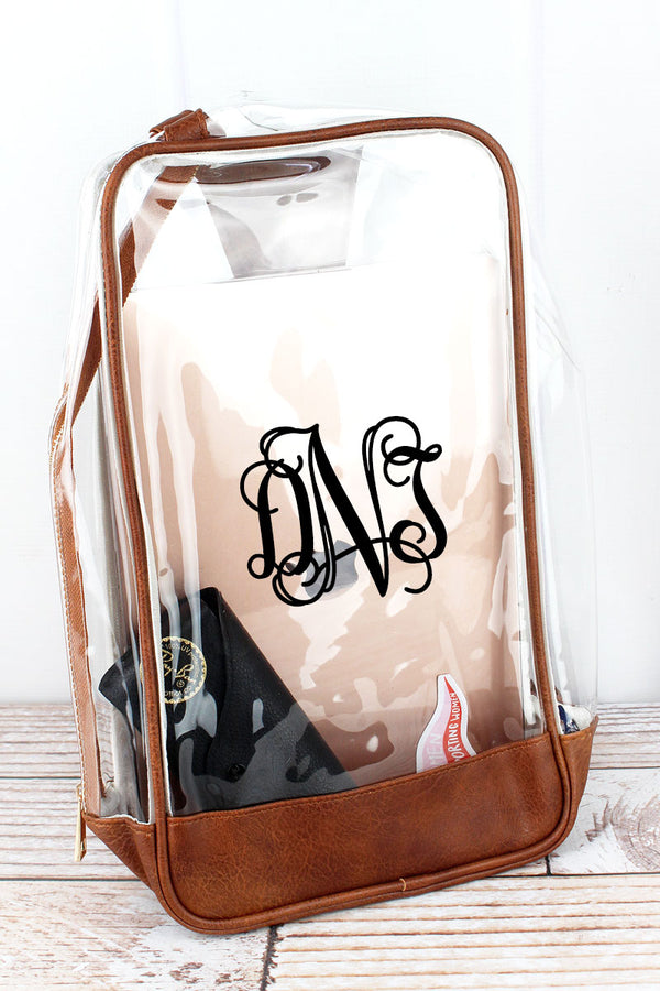 Clear Sling Backpack with Brown Trim