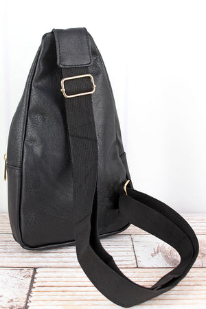 Black Faux Leather Small Sling Backpack