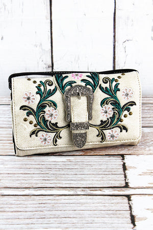 Western Buckle and Flowers Beige Faux Leather Crossbody Wallet