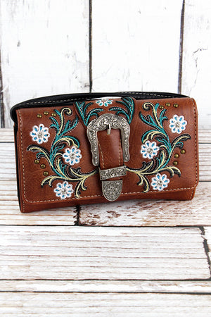 Western Buckle and Flowers Brown Faux Leather Crossbody Wallet