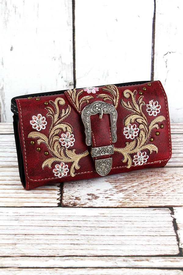 Western Buckle and Flowers Red Faux Leather Crossbody Wallet