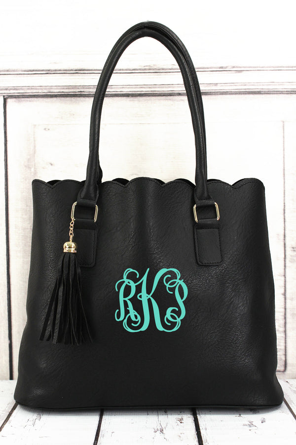 Black Faux Leather Scalloped Tote