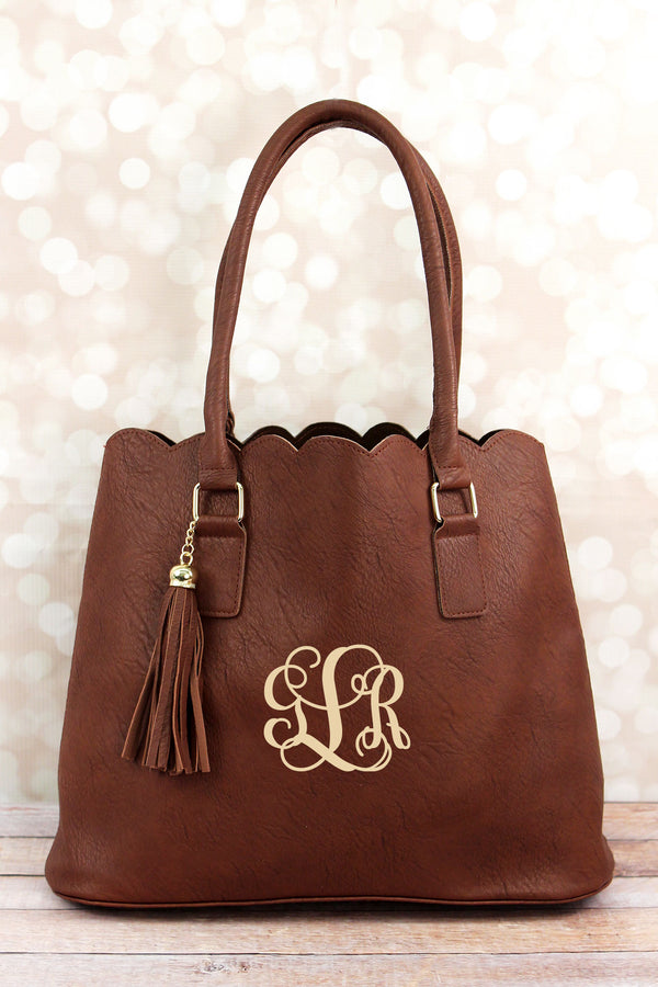 Brown Faux Leather Scalloped Tote