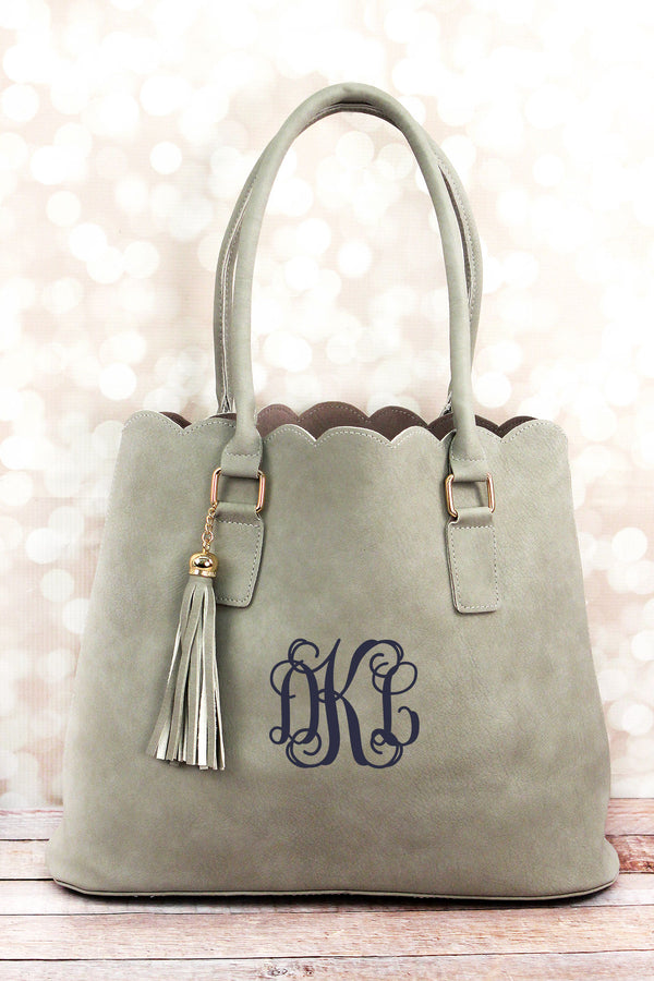 Gray Faux Leather Scalloped Tote