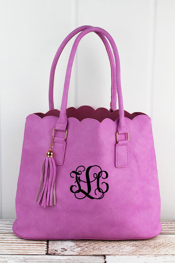 Pink Faux Leather Scalloped Tote