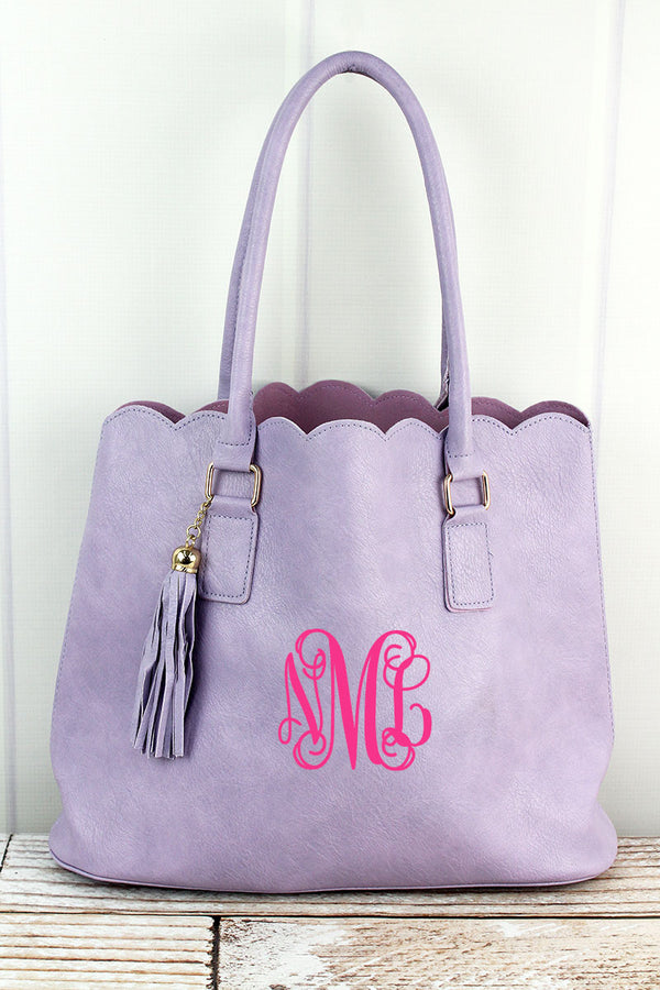 Violet Faux Leather Scalloped Tote