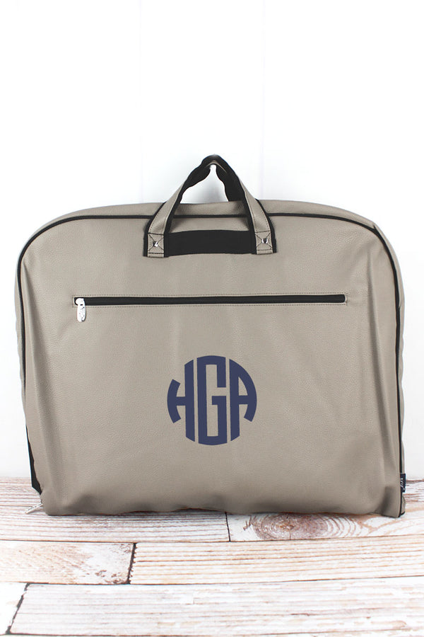 Taupe Gray Faux Leather Garment Bag