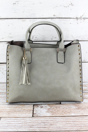 Gray Faux Leather Studded 2-in-1 Tassel Tote