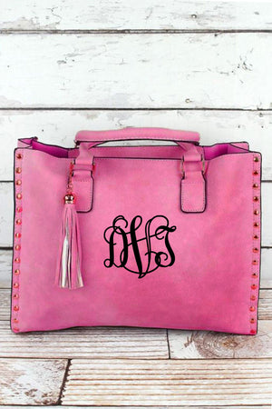 Pink Faux Leather Studded 2-in-1 Tassel Tote