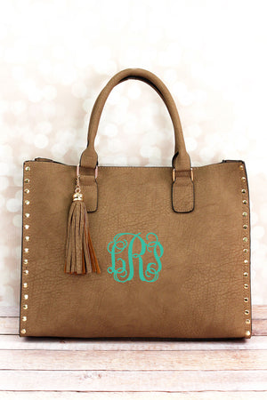 Taupe Gray Faux Leather Studded 2-in-1 Tassel Tote