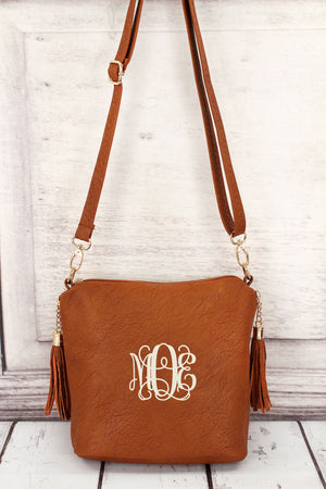Light Brown Faux Leather Double Tassel Zip Crossbody #P932-L/BROWN