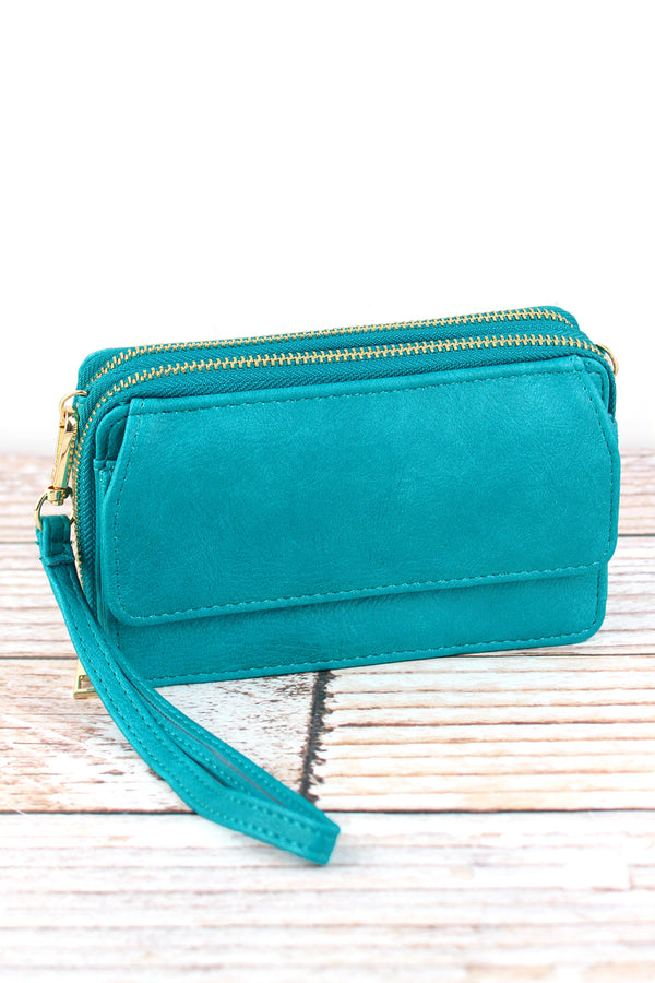 Turquoise Faux Leather Crossbody Organizer Clutch