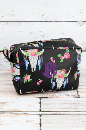 Free Spirit Steer Faux Leather Cosmetic Case