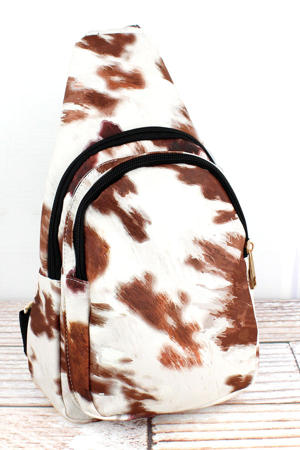 Till The Cows Come Home Faux Leather Small Sling Backpack