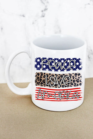 Peace Love America White Mug