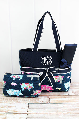 Posh Pigs Quilted Diaper Bag with Navy Trim