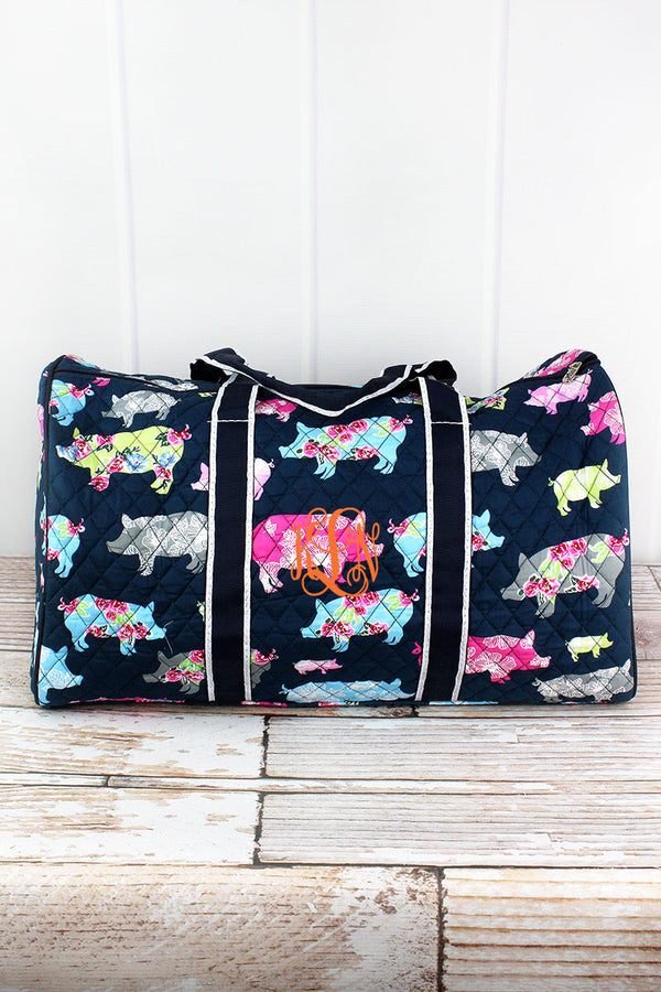 Posh Pigs Quilted Duffle Bag 21""