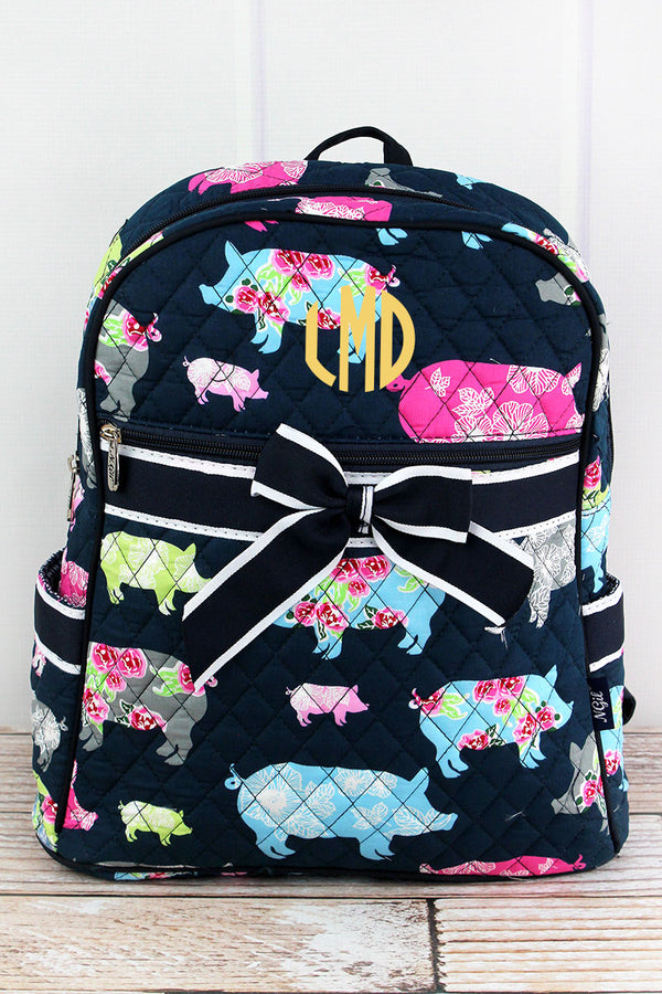 Posh Pigs Quilted Backpack with Navy Trim